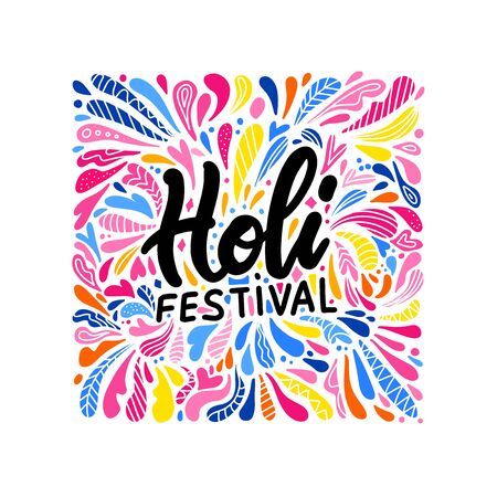 Indian color festival Holi background with stylish text on colors splash background. bright drop pattern with lettering Holi festival. Indian template design. Flat hand drawn vector illustration. Banque d'images - 138357690