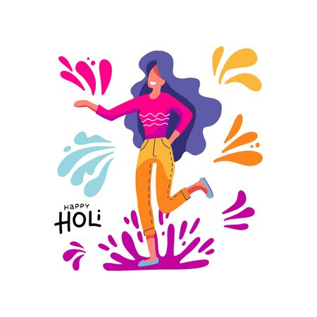 Happy Holi. Woman taking part in traditional Indian Festival of Colours. Beautiful happy young lady. Colorful isolated print. Vector illustration on white background with color spots, splash Ilustrace