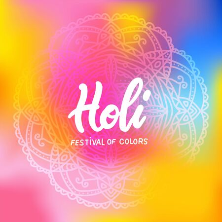 Colorful holi mandala banner ornament template in modern stylish gradient with lettering quote Holi festival of colors