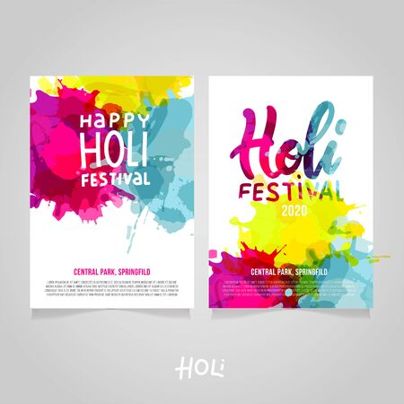 Set of Holi Festival a4 backgrounds with abstract colorful rainbow paint splashes. Poster, brochure, banner or flyer template design with lettering Happy Holi Festival with sample text