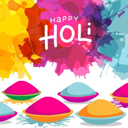 Holi festival celebration background with bowls full of powder colours on splash blot colourful background. Can be used as greeting card design. Ilustrace