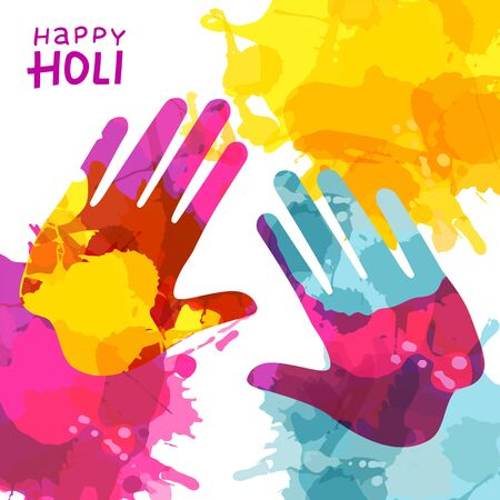 Holi Festival Background with Colorful Handprint and rainbow splashes. Vector Illustration with lettering for greeting cards and banners Ilustrace