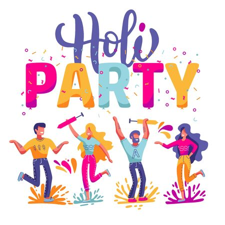 Happy Holi festival of colors background for holiday of India. Vector flat illustration with big lettering - Holi party. Bright people characters celebrating and having fun Illustration