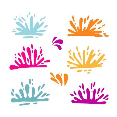 set of colorful splatter. Holi fectival splashes. Flat vector illustration isolated on white background