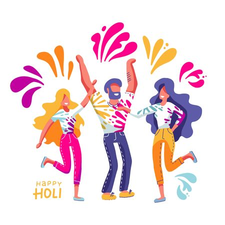 Group of young people celebrates Holi. Men and women throw colored paint. Vector illustration in flat hand drawn style with lettering Ilustrace