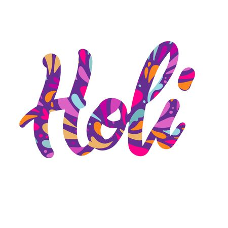 Holi colorful calligraphic lettering poster. Colorful hand written font with paint splashes. Vector flat illustration Ilustrace