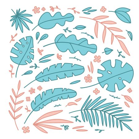 Set of tropical plants elements flowers, palm leaves, grasses. Isolated objects on white background. Hand drawn vector illustration. Flat style design. Concept for children print.