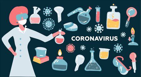female scientist or Doctor research coronavirus CoV in the laboratory. Health and medicine concept. Flat vector illustration.