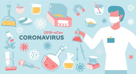 Male scientist or Doctor research coronavirus CoV in the laboratory. Health and medicine concept. Flat vector illustration.