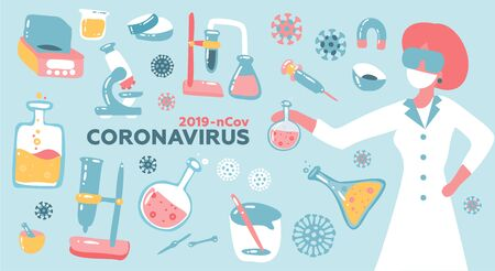 Woman scientist or Doctor research coronavirus CoV in the laboratory with flask glass equpment. Health and medicine concept. Flat vector illustration.