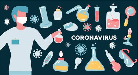 Man scientist or Doctor research coronavirus CoV in the laboratory with flask glass equpment. Health and medicine concept. Flat vector illustration. Ilustrace