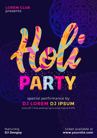 Colourful abstract design decorated Poster, Banner or Flyer for Indian Colour Festival, Holi celebration party. Beautiful gulal colorful dark background