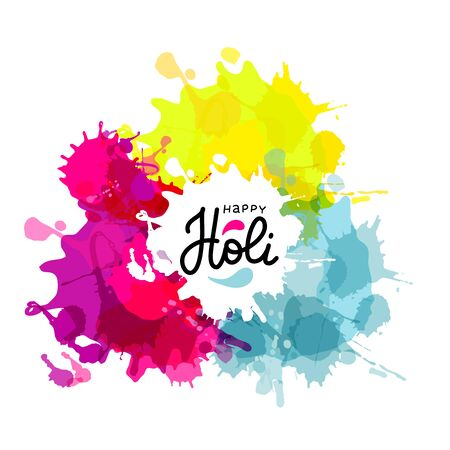 Holi spring festival of colors vector design element , bright blots and lettering text. Can use for banners, invitations and greeting cards