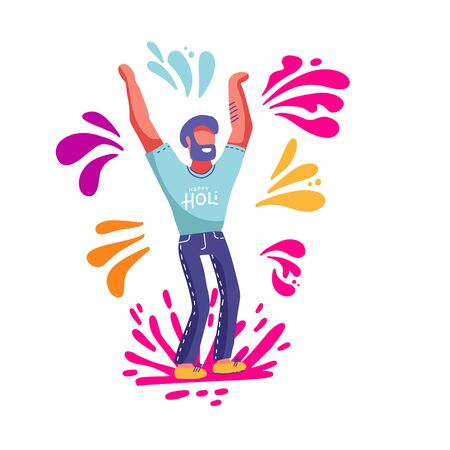 Bearded man having fun throwing colorful splashes on the spring festival of Holi. Template for invitation poster. Vector illustration in flat cartoon style
