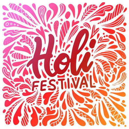 Abstract illustration of colorful Happy Holi Background for Festival of Colors celebration greetings with hand lettering