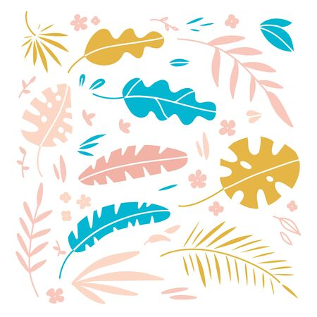 Vector illustration set of hand drawn plants and palm leaves for design. Flat hand drawn scandinavian style.