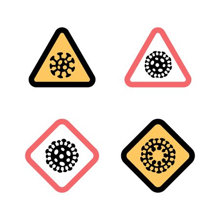Set of Stop signs Coronavirus 2019-nCoV disease. medical health care concept. Ilustrace