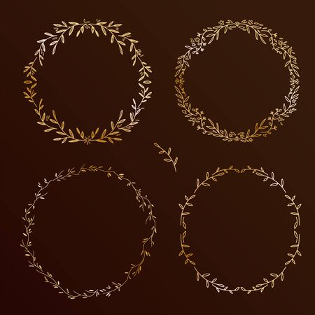 Chic design hand drawn elements set. Floral wreaths collection, round vector frames collection on black background Ilustrace