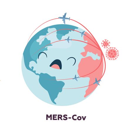 Planet earth character is upset and screaming because of the spread of coronavirus. Floating influenza virus cells. 2019-nCoV. Ilustração