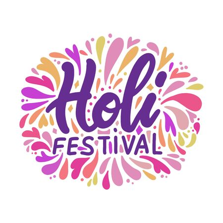 Vector illustration of Holi lettering for Festival of Colors. Celebration colorful greeting calligraphy with splash of paint isolated on white background.