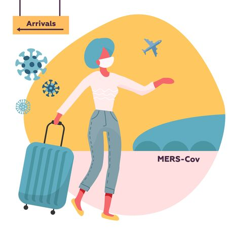 Woman travelling with medical face mask and travel bag moving from direction of arrival. Coronavirus alert.