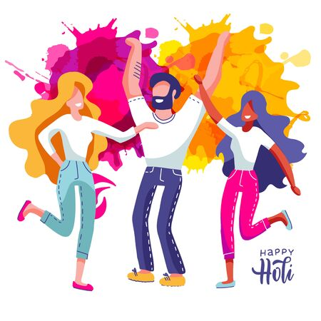 Group of young people celebrates Holi. Set of Man and women throw colored paint splashes. Vector illustration in flat cartoon style Ilustrace