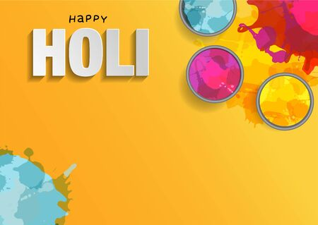 Holi background flat lay. Colorful holi powder on yellow background. Vector illustration with splashes and paper cut text Ilustrace