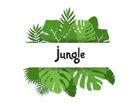 Trendy Summer Tropical palm leaves, plants. Paper cut style. Exotic Hawaiian summertime banner with lettering Jungle. Beautiful white floral background with green Monctrea lraves. Vector illustration