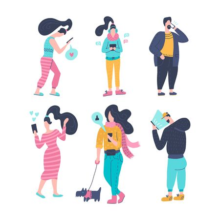 Gadgt eddiction concept. People using smartphones set. Men and women with mobile devices cartoon character collection. Mobile internet, social media. Taking selfie.Hand drawn flat vector illustration.