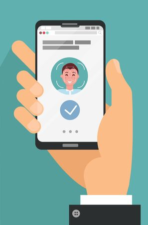 Facial recognition concept. Face ID, face recognition system. Hand holding smartphone with human head and scanning app on screen. Modern application. Flat design graphic elements. Vector illustration Ilustrace