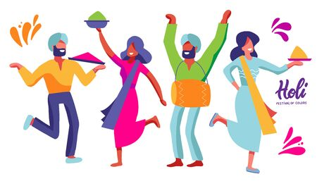 Set of indian dancers of the festival of colors. Carnival women and men characters. Design element for holi party. Vector flat illustration