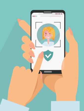 Identity verification. Face detect and recognition. Scanning process on screen mobile. Young woman holds a smartphone in her hands. Face reflection on the screen. Flat cartoon vector illustration.
