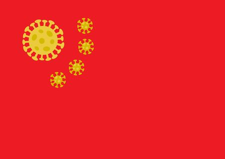Chinese flag with yellow coronavirus shapes instead of stars. Novel coronavirus outbreak Biohazard 2019-nCoV disease China medical health care concept. Chinese healthcare WUHAN virus. Flat vector