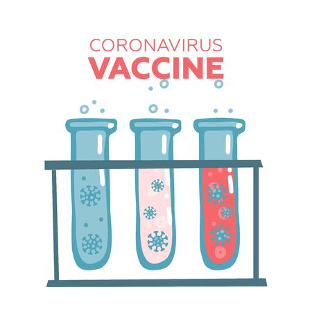 Flasks  a virus in the laboratory. 2019-nCoV virus strain  vaccine production process. pandemic coronavirus outbreak . test tubes  DNA, virus and vaccine. Flat vector illustration