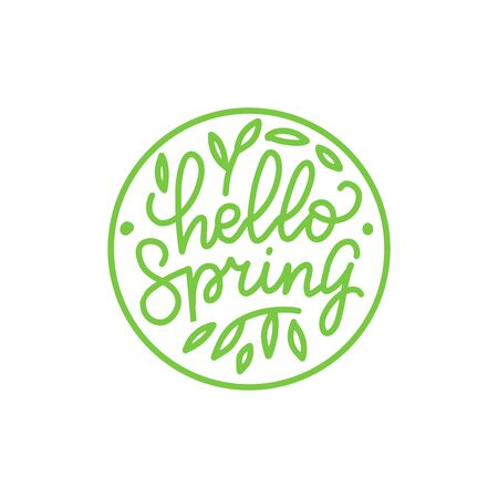 Hello spring outlined logo in flat style with leaves. Circle nature icon. Hand drawn graphic floral design element in minimal modern style. Vector illustration