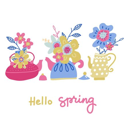 Set of bouquet of flower in the teapot set. Spring doodle flower. Teatime collection. Concept of tree teapots and cute flowers in flat vector style with hand lettering