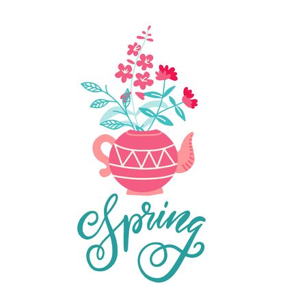 Cute teapot with bouquet of flowers. Spring flowers. Springtime greeeting card design concept. Vector illustration on white background