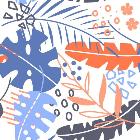Seamless pattern with tropical leaves of plants and memphis style elements. Flat hand drawn style. White background. . Scandinavian Illustration on a summer theme. Bright colours