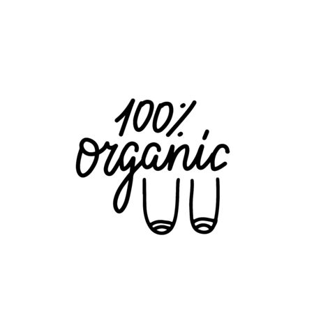 100 percent Organic - funny boobs saying. Feminist funny lettering quote. Joke motivation saying for gift, t-shirts, tops, selfies, posters. Black and white line vector calligraphy