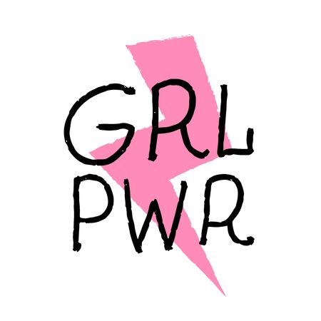 GRL PWR - feminism quote and woman motivational slogan. Vector illustration in simple style with hand-lettering phrase girl power - stylish print with pink lightning for poster or t-shirt. Ilustrace