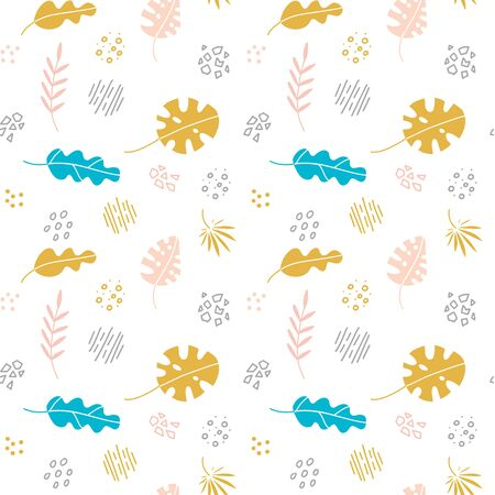 Abstract trendy seamless pattern with different shapes and tropical plants in sketch style. Floral elements drawn in scandinavian style. Modern textile, branding, packaging.