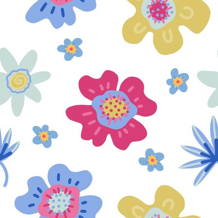 Seamless pattern with creative decorative flowers in scandinavian style. Spring concept .Great for fabric, textile. Vector flat hand drawn background