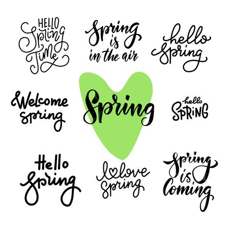 Spring time lettering greeting cards set. Special spring sale typography poster in gold black and white colors. Vector illustration Ilustrace