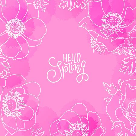Background with watercolor imitation and abstract flowers, florals. Hello spring lettering message. Pink colored