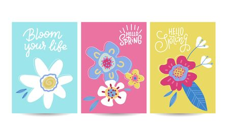 Hello spring seasonal banners set. Artistic drawing posters collection with abstract flowers and plants. Floral decorated line art banners selection. Flat hand drawn vector illustration Ilustrace