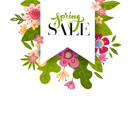 Spring sale tag label with text and brush lettering drawing. Vector illustration of abstract flowers and leaves, easy editable. Bachground with paper flag. Ilustrace