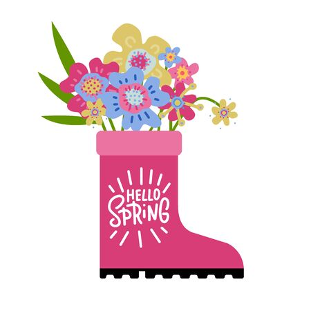 Spring season greeting card, pink rubber boot with doodle flowers. Hello Spring hand line lettring. Flan artistic vector illustration Standard-Bild - 140867937