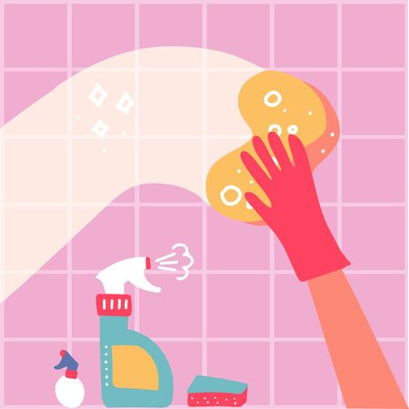 Cleaning service conpept. One Hand in red rubber glove with spray and sponge wash pink wall tiles. Vector flat hand drawn illustration