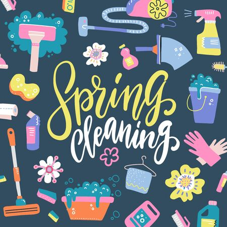 Spring Cleaning Lettering Decorating with Equipment, Housework, Appliance, Domestic Tools pattern. Season cleanup. Flat hand drawn vector illustration on dark background