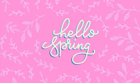 Hello spring banner. Trendy bright pink texture. Horizontal concept with branches pattern. Vector Lettering text. Fashionable styling